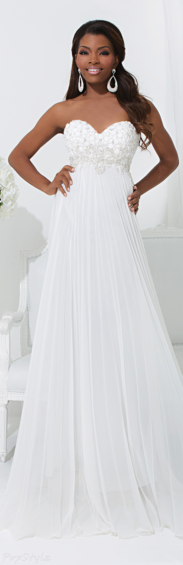 Tony Bowls 114507 Elegant Strapless Floor Length Gown