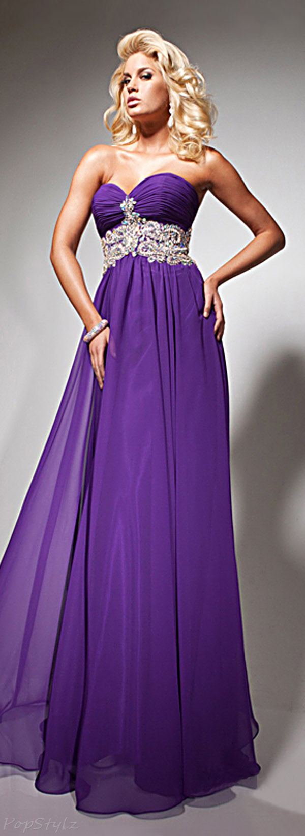 Tony Bowls TB113750 Strapless Purple Evening Gown