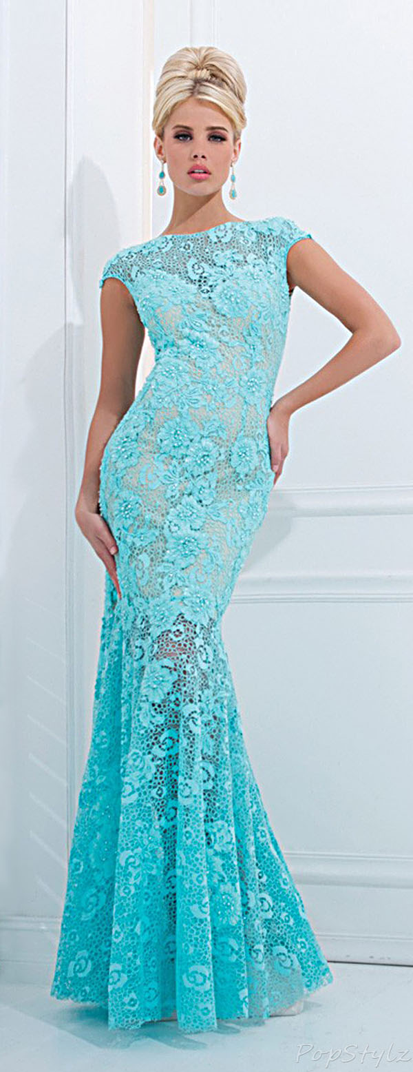 Tony Bowls TBE11405 Lacy Mermaid Evening Gown