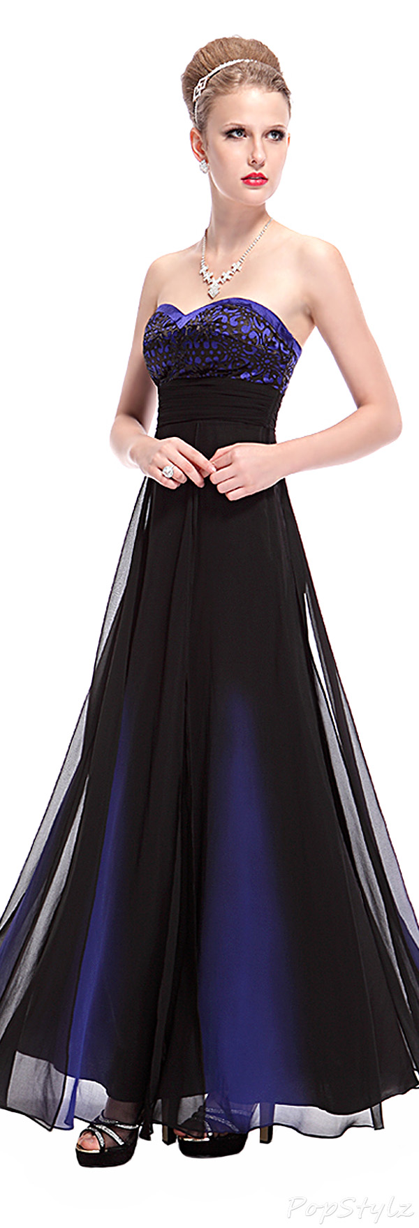 Ever Pretty 08070 Sapphire Blue Sweetheart Long Evening Gown