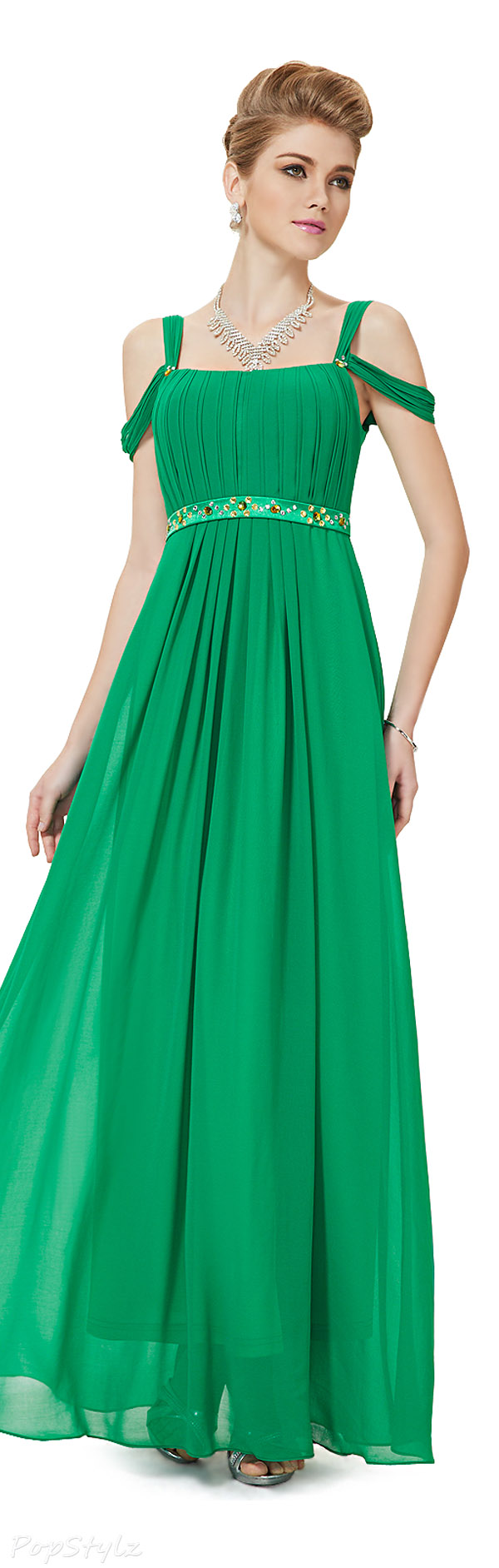 Ever Pretty 08115 Emerald Green Off Shoulder Long Dress