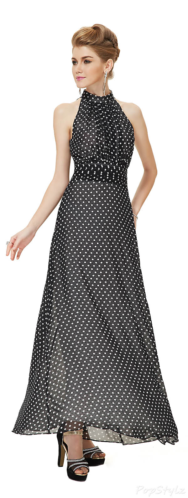 Ever Pretty 08173 High Collar Polka Dot Chiffon Retro Evening Dress