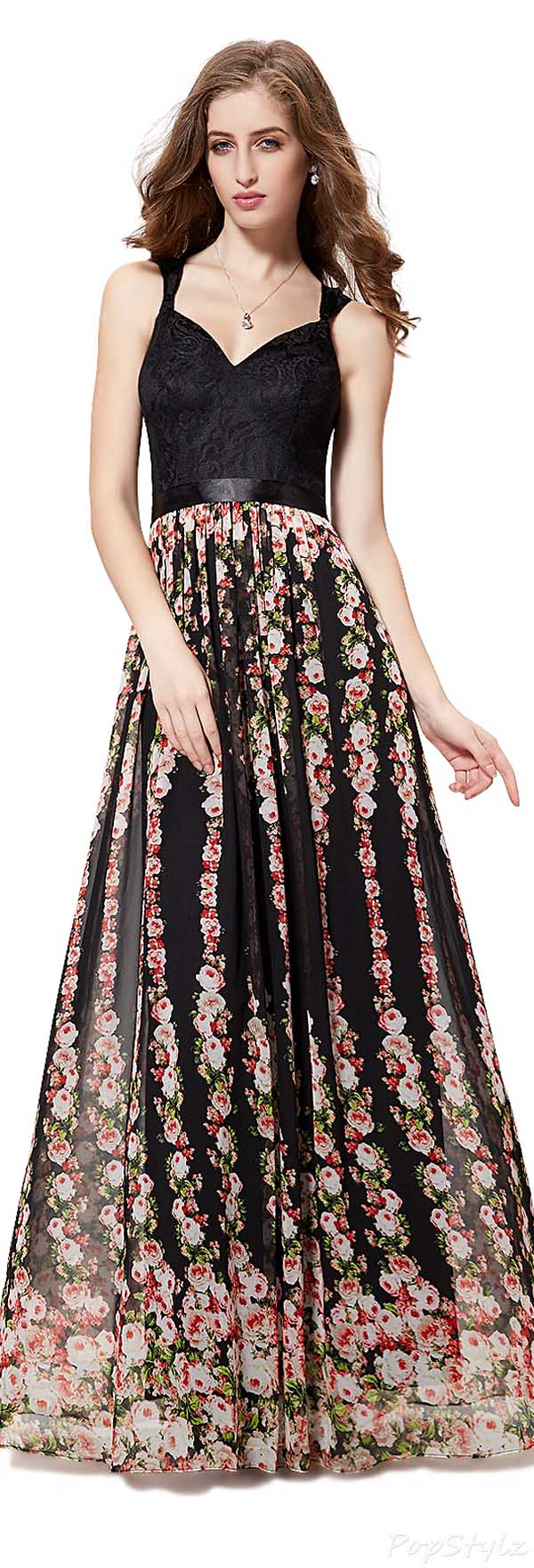 Ever Pretty 08288 Ruffled Floral Printed Maxi Dress