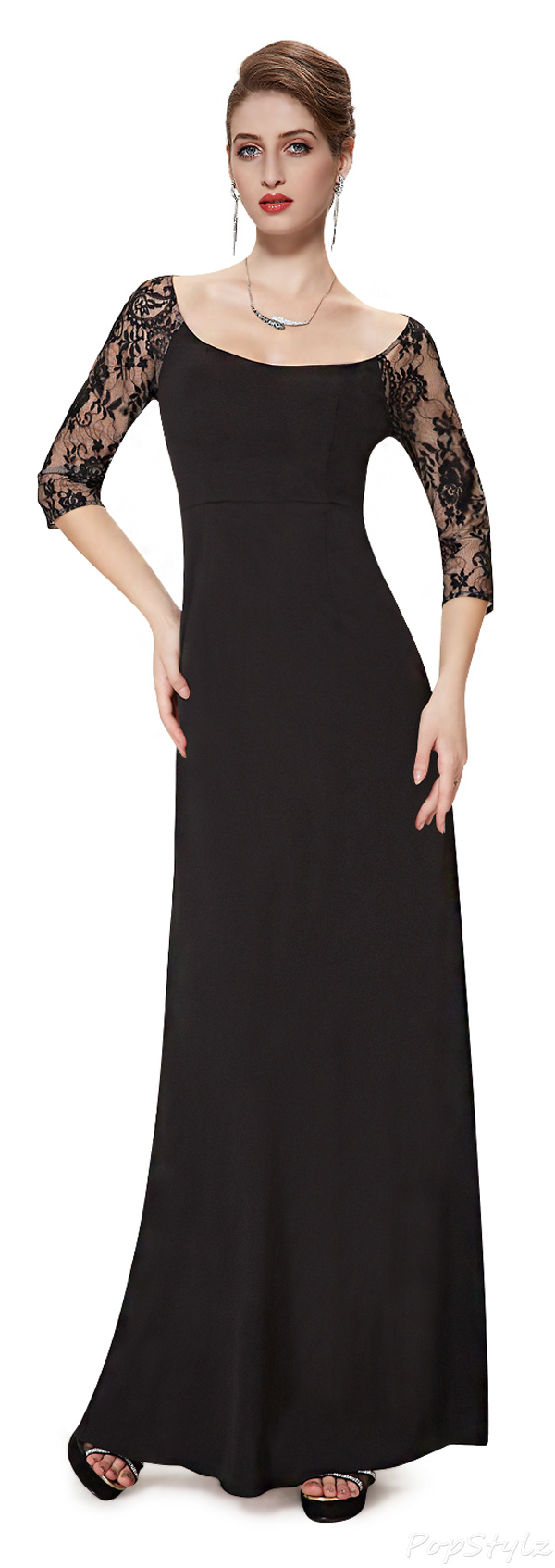 Ever Pretty 08311 3/4 Lace Sleeve Long Black Evening Dress