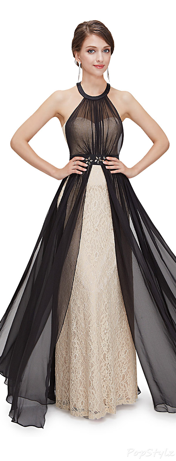 Ever Pretty 08359 Lacy Gown with Sheer Black Overlay
