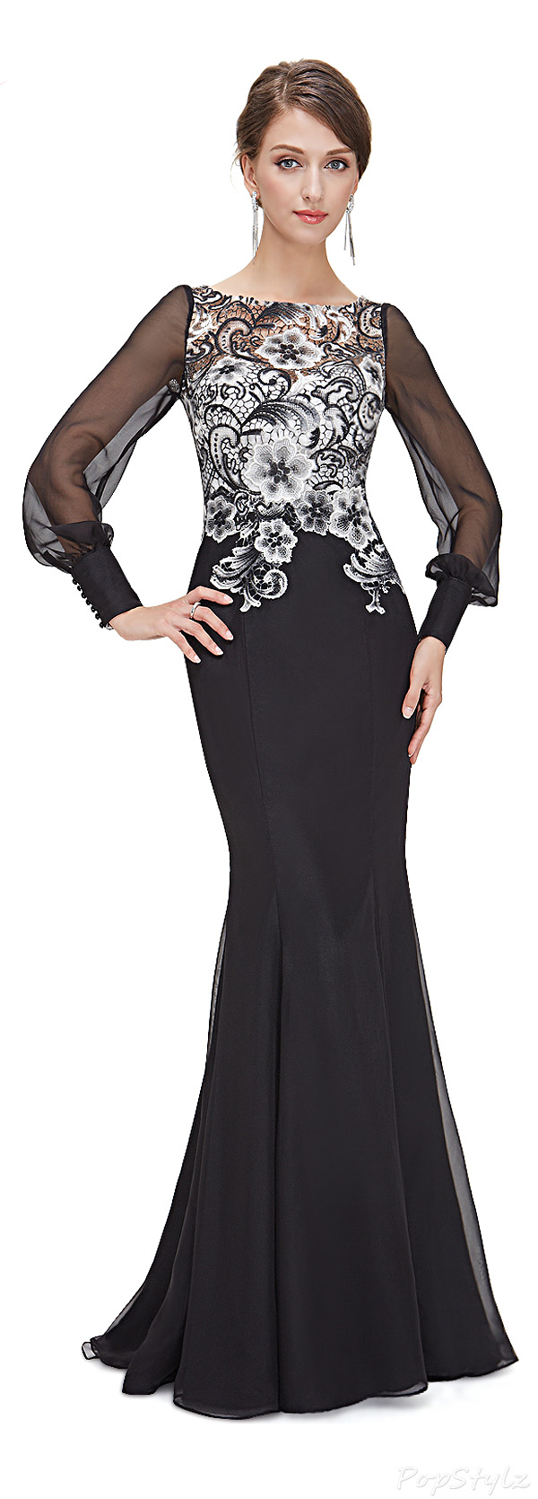 Ever Pretty 08363 Elegant Lacy Black Mermaid Evening Gown