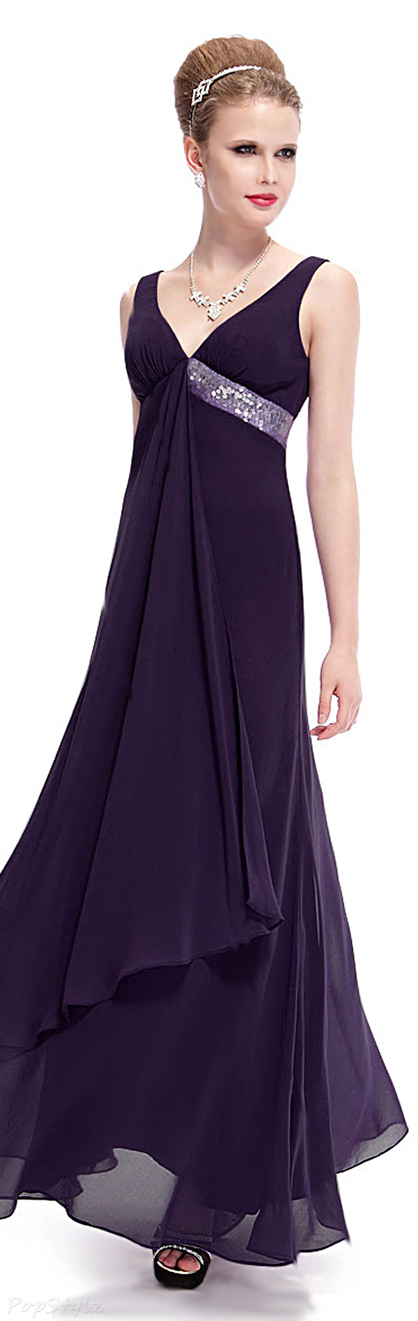 Ever Pretty 09981 Purple Flowing Sequined Evening Dress