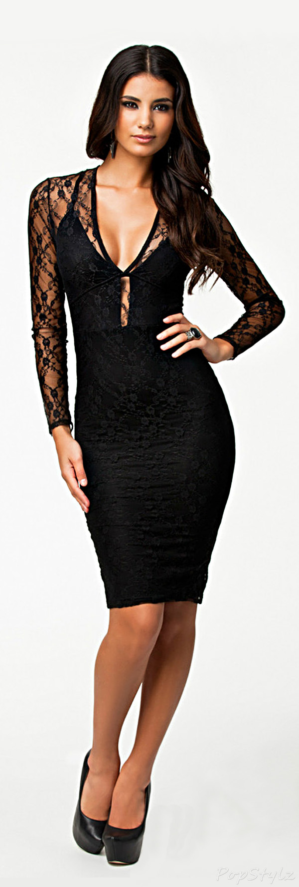 made2envy Allover Lace Open Back Dress
