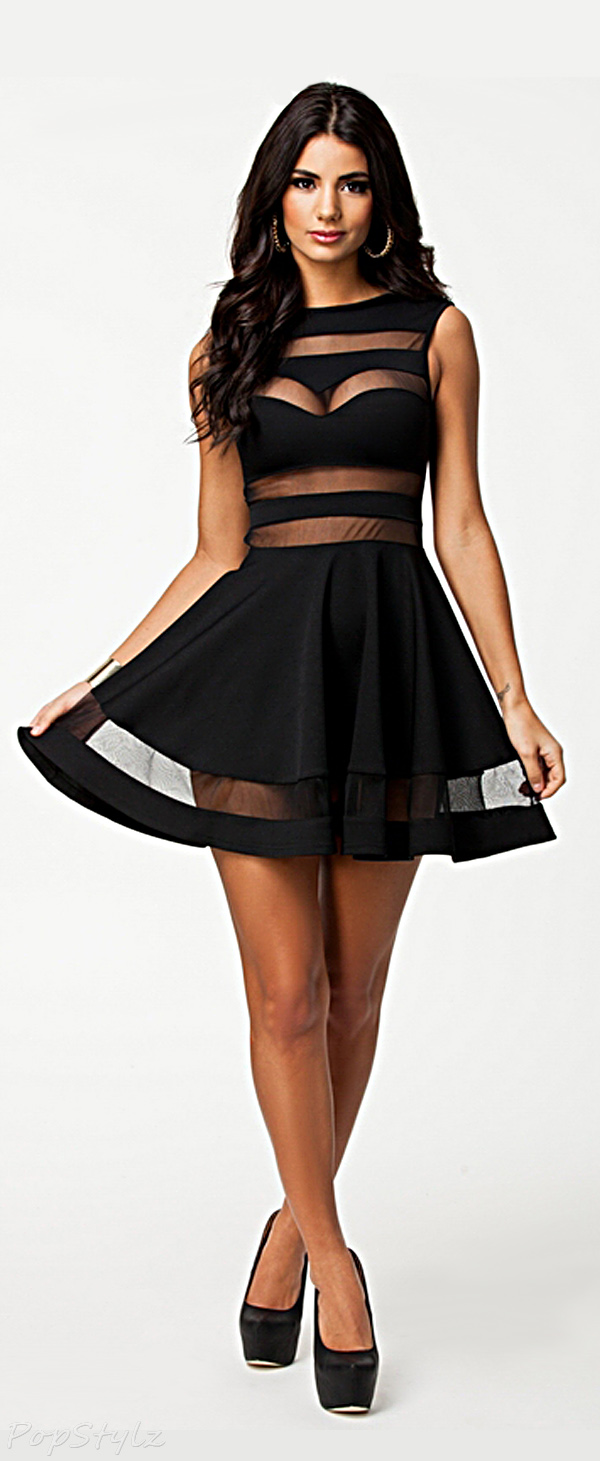 made2envy Mesh Block Skater Dress