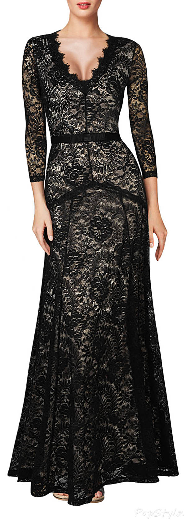 MIUSOL Floral Lace Maxi Evening Dress