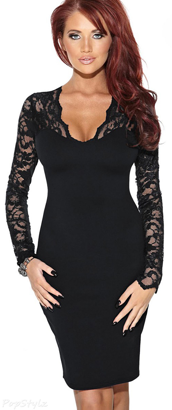 MIUSOL Floral Lace Bodycon Evening Dress