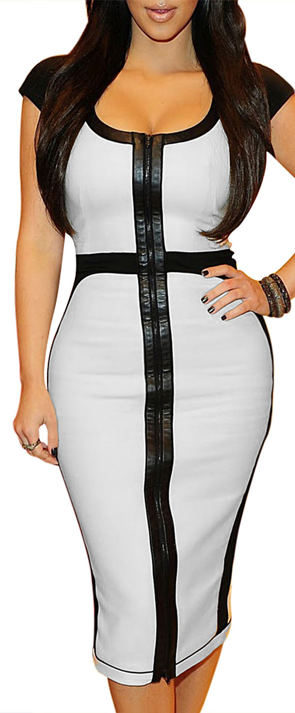 MIUSOL Formal Contrast Front Zipper Bodycon Pencil Dress