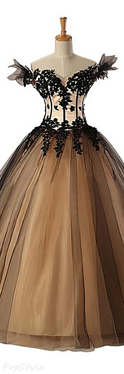 Sunvary 2015 Pearl & Black Satin and Tulle Gown