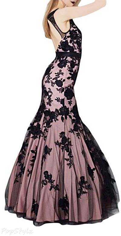 Sunvary Vintage Mermaid Black Lace Gown