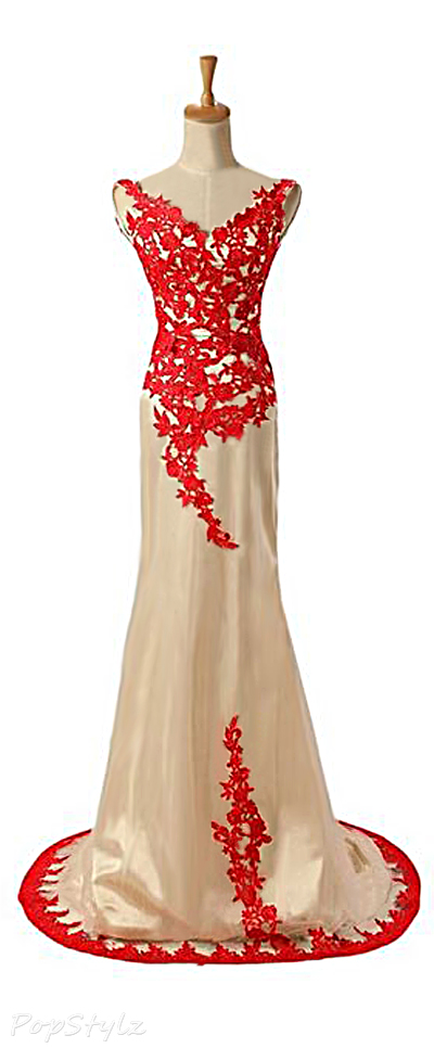 Sunvary Lace Tulle & Satin Evening Gown