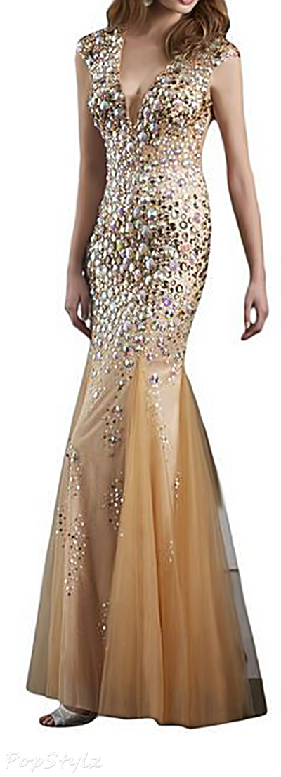 Sunvary Luxurious Gold Tulle Crystal Mermaid Gown