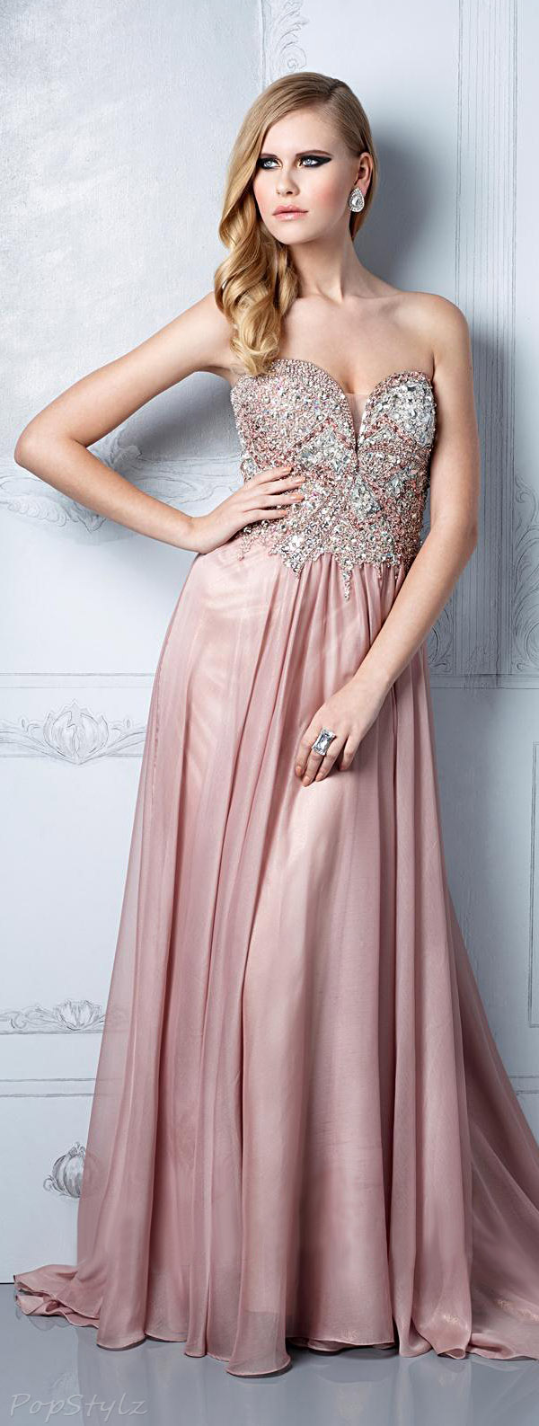 Terani Couture Gl2302 Sweetheart Strapless Embellished Bodice Evening Gown