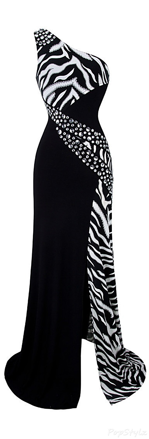 Angel-fashions Zebra Gemstones Evening Gown