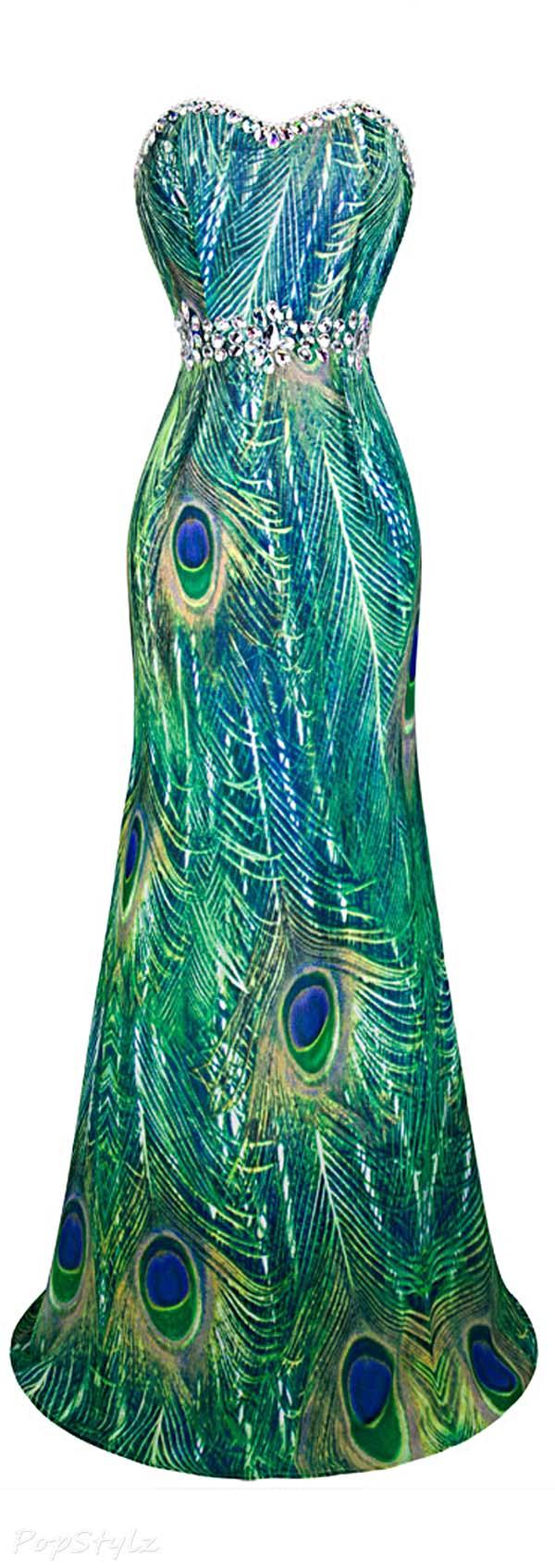 Angel-fashions Rhinestone Peacock Evening Dress