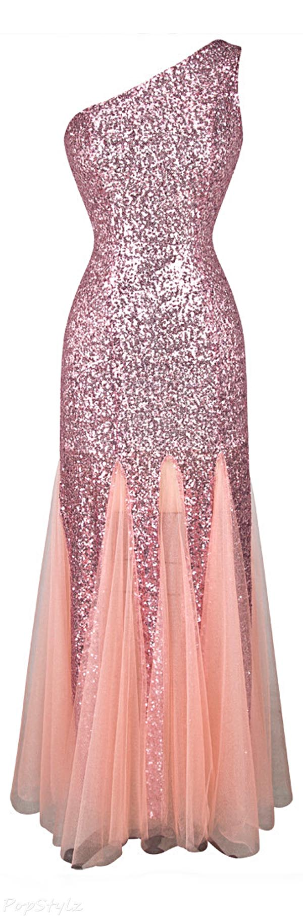 Angel-fashions Twinkling Sequined Mesh Gown