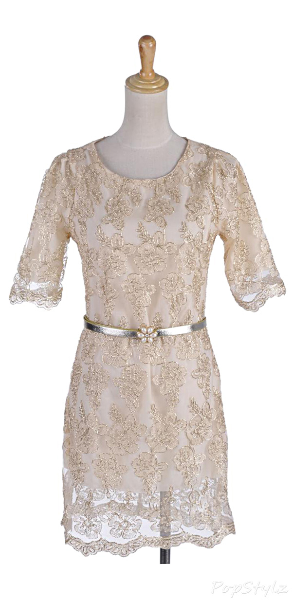 Anna-Kaci Gold Lace Overlay Silver Pearl Flower Dress
