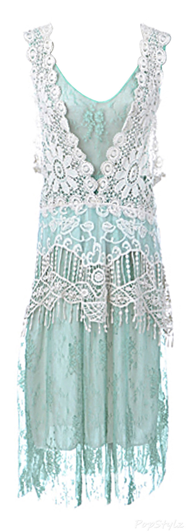 Anna-Kaci Granny Influence Embroidery Detail Lace Ruffle Dress
