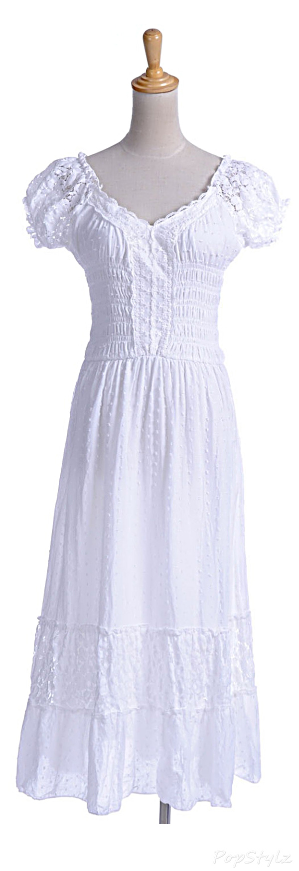 Anna-Kaci Boho Peasant Maiden Lace Trim Dress