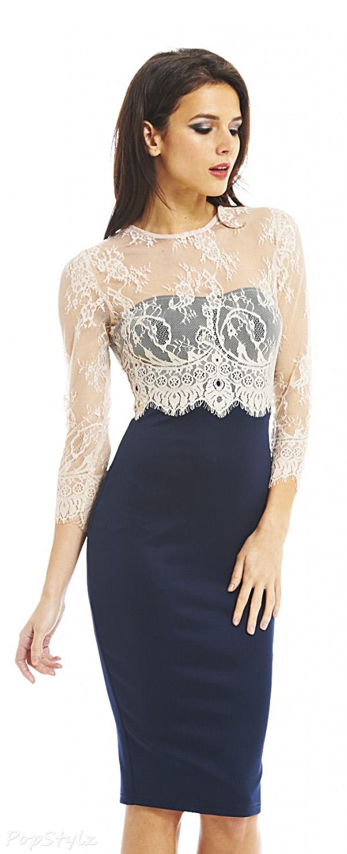 AX Paris Lace Sleeve Overlay Midi Dress