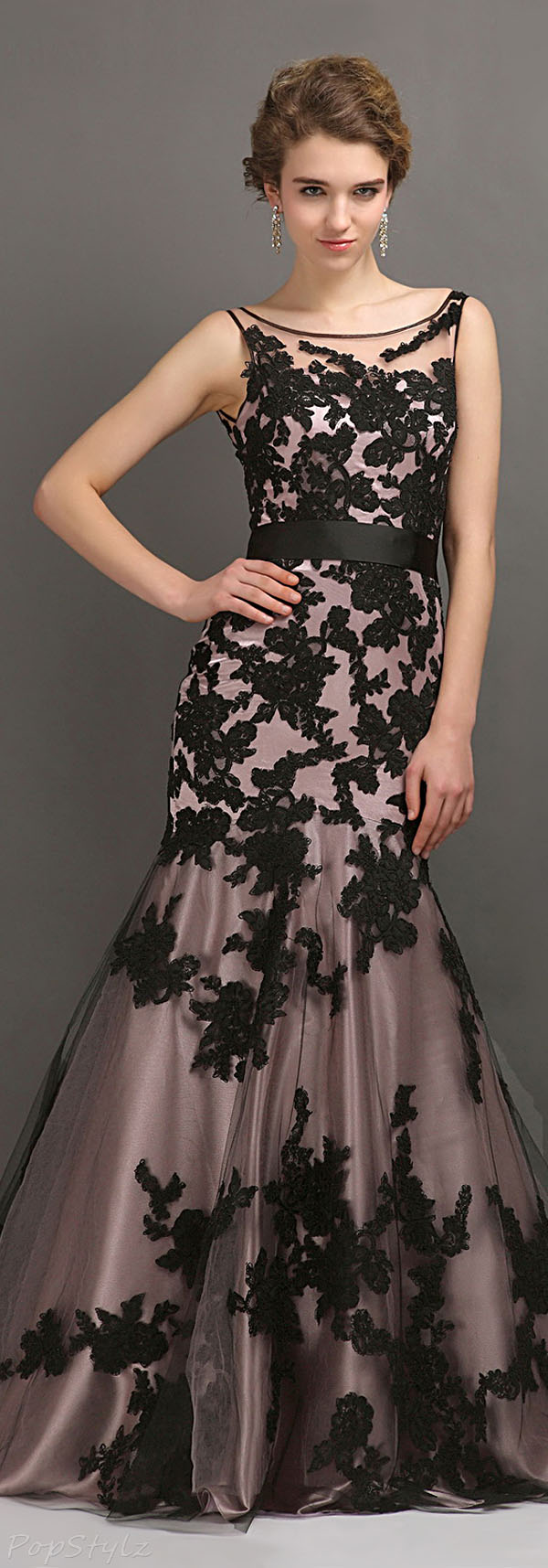 Cocomelody Black Lace Trumpet Mermaid Gown