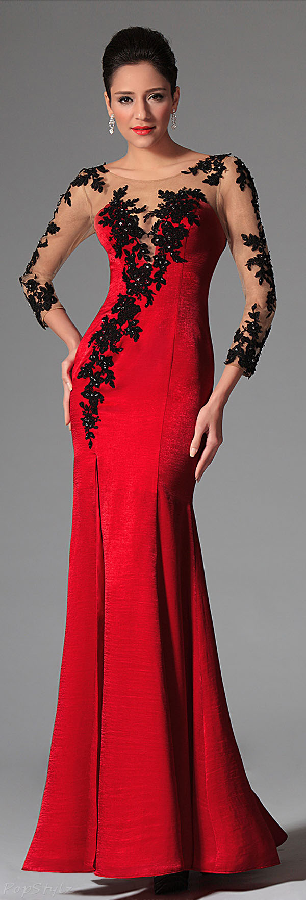 eDressit 02146302 Lacy Velvet Evening Gown