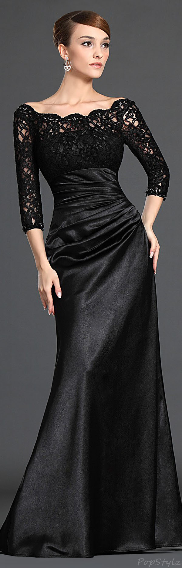 eDressit 26121800 Beads & Black Lace Gown