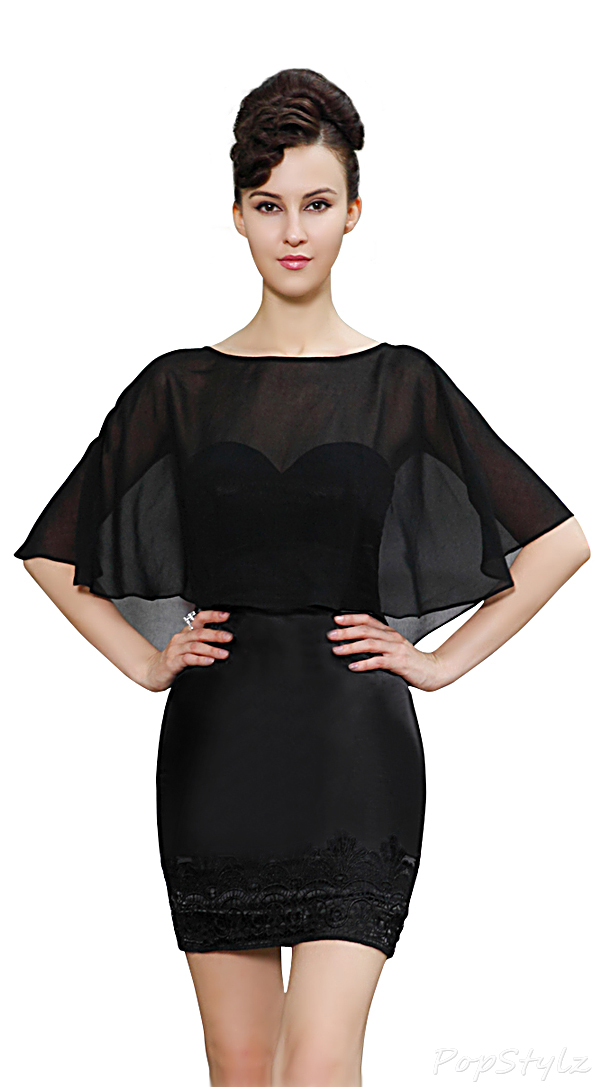 Ever Pretty 03878 Little Black Dress with Chiffon Capelet