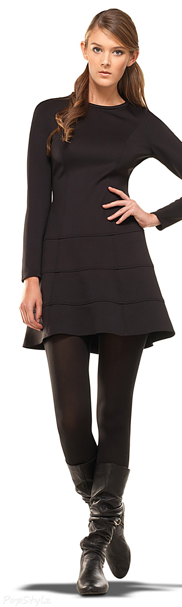 MAXSTUDIO Black Long Sleeve Dress