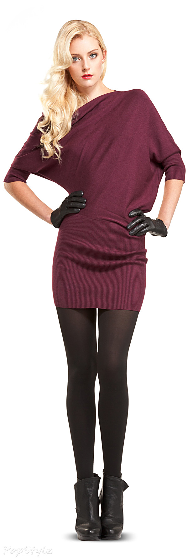 MAXSTUDIO Knitted Asymmetrical Sweater Dress