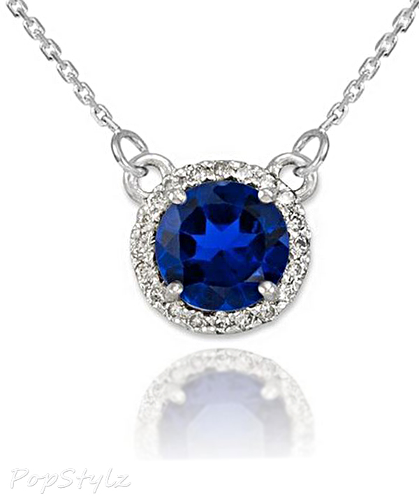 Diamond-Accented Natural Blue Sapphire Necklace