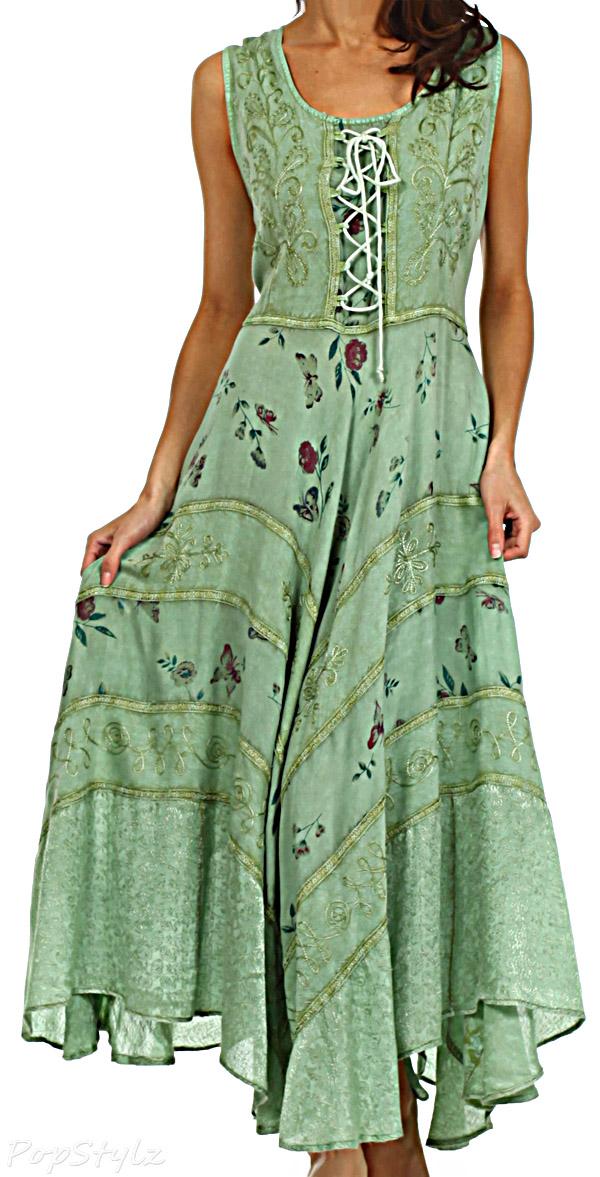 Sakkas Garden Goddess Embroidered Corset Dress