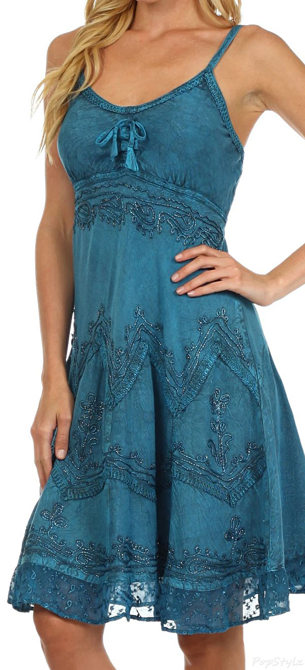 Sakkas Stonewashed Embroidered Midi Dress