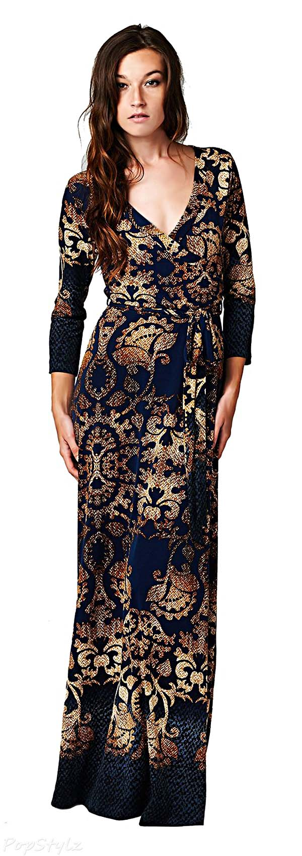 On Trend Paris Damask Maxi Dress