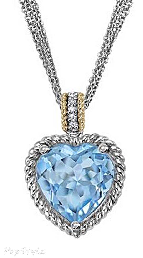Sparkling CZ Blue Topaz Heart Necklace
