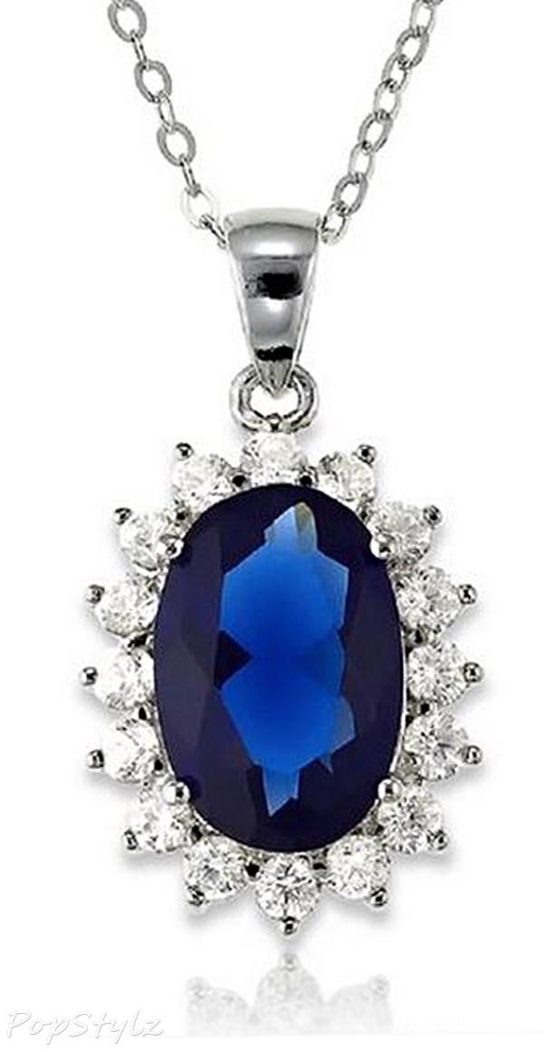 Blue Sapphire Princess Diana/Kate Middleton Necklace