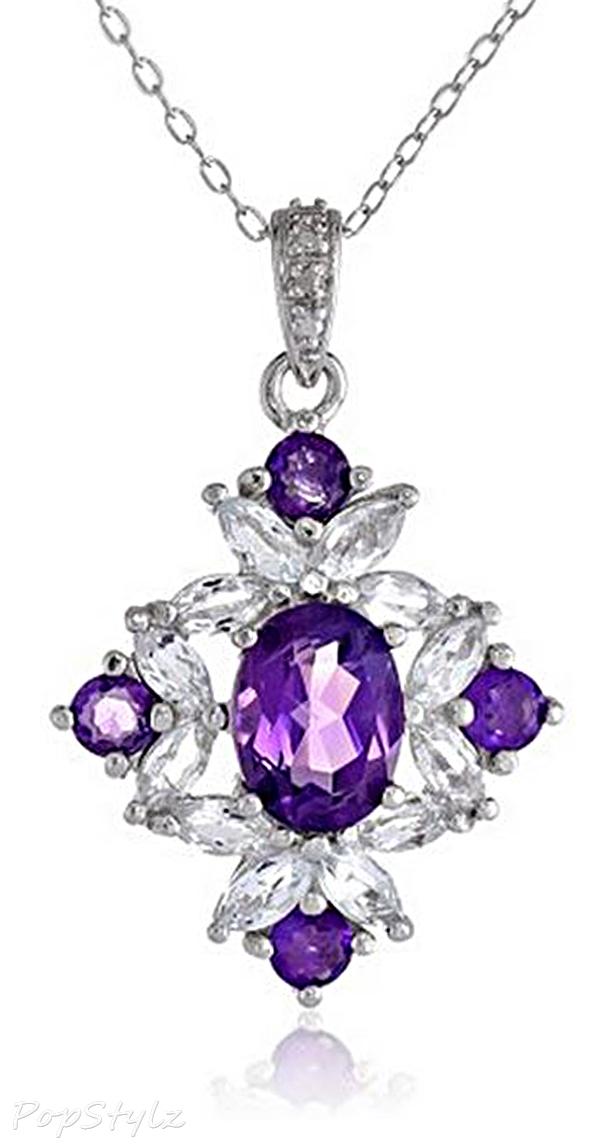 African Amethyst, Topaz, Diamond Necklace