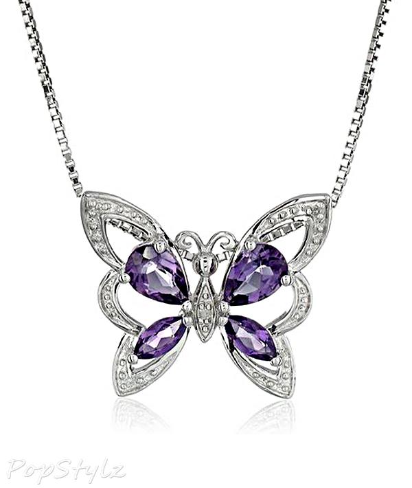 Amethyst & Diamond Butterfly Necklace