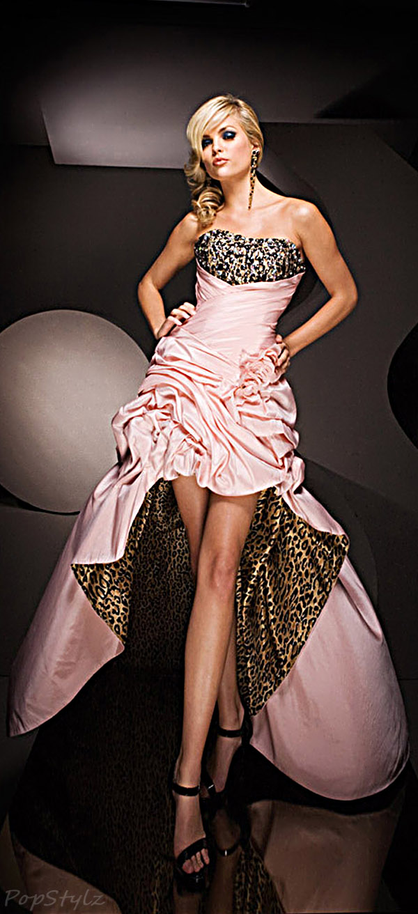 Tony Bowls 11069 Pink & Leopard Evening Dress