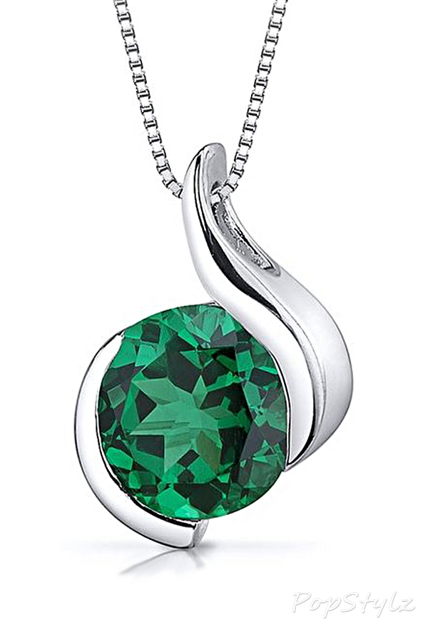 Sparkling Simulated Emerald Pendant Necklace
