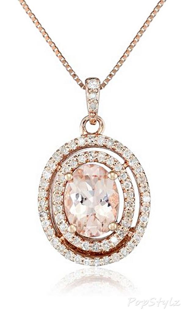 Pink Gold Morganite & Diamond Necklace