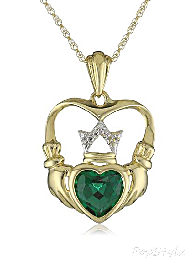 Emerald & Diamond-Accent Claddagh Necklace