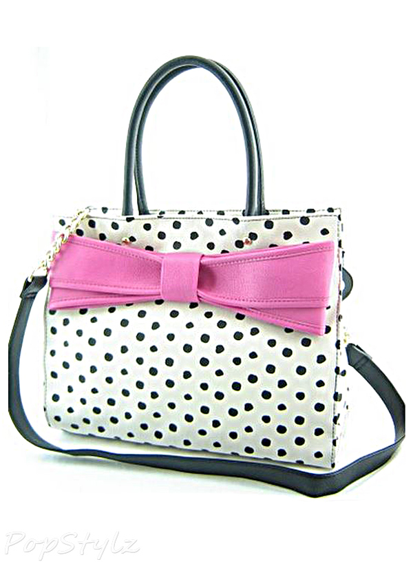 Betsey Johnson Bow Wow Polka Dot Tote Handbag