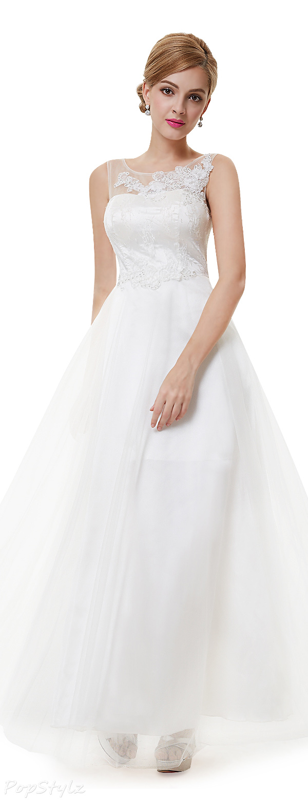 Ever Pretty 08447 Illusion Neckline Wedding Gown