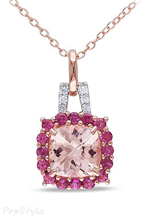 Morganite, Tourmaline & Diamond Necklace