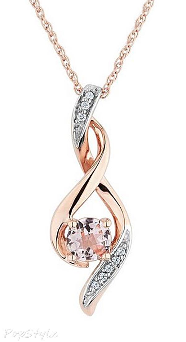 Morganite & Diamond Twist Pendant Necklace